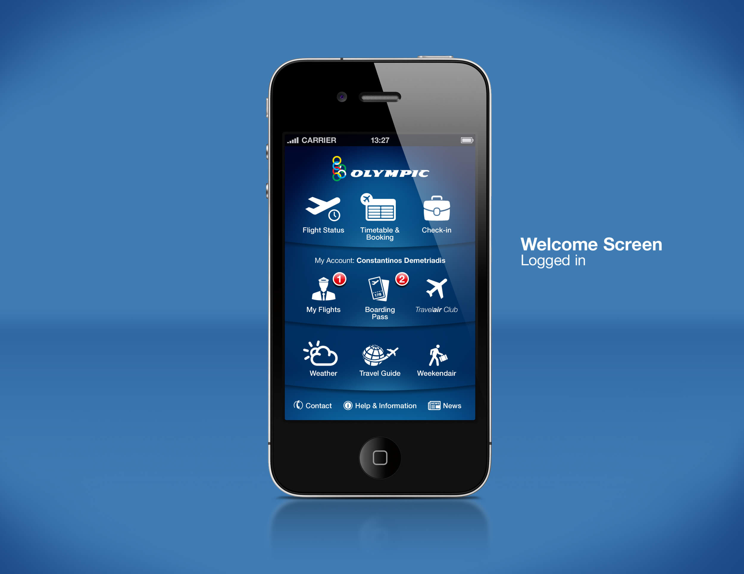 Airline Mobile App Welcome Screen