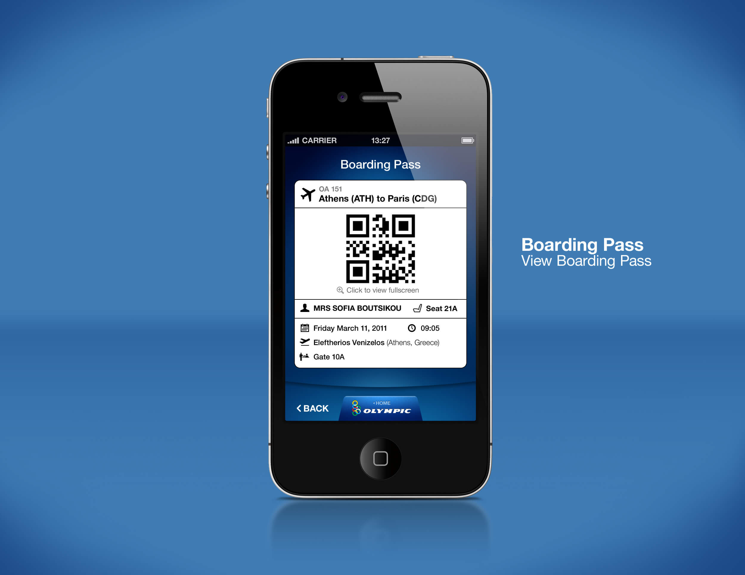 Airline Mobile App Boarding Pass